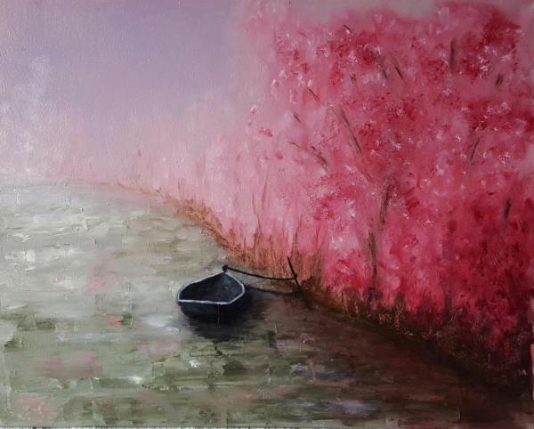 Barque aux arbres roses