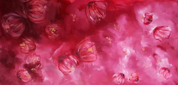 Nuages de fleurs roses